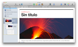 Zona de trabajo de iBooks Author